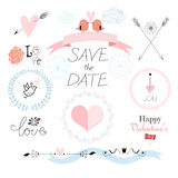 Romantic set with different elements for the holiday of love Stock Photos