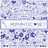 Romantic set of doodles Royalty Free Stock Image