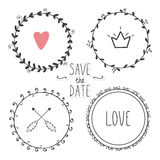 Romantic set of hand drawn wreaths Royalty Free Stock Images