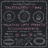 Romantic set.Heart decoration,lettering,labels Stock Image
