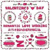 Romantic set.Heart decoration,lettering,labels Stock Images