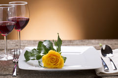 Romantic set table. Restaurant still life Stock Photos