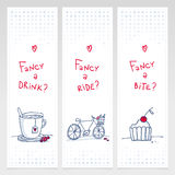 Romantic set of three doodle vertical banners Royalty Free Stock Photography