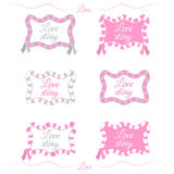 Romantic set. vector  frames. love story text Stock Images