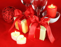 Romantic Setting with Candles and Glasses Royalty Free Stock Photo