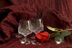 Romantic setting with couple of crystall glasses Stock Photos