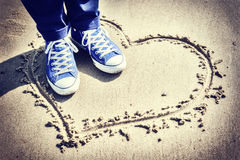 Romantic setting with heart sign on the beach Royalty Free Stock Image