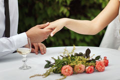 Romantic setting in the open air stock images