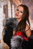 Romantic sexy brunette woman posing in delicate red  lingerie and luxury fur coat. Stock Images