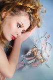 Romantic  sexy woman with perfume Stock Photography