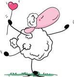 Romantic sheep dance. Vector illustration of romantic sheep dance Stock Photo