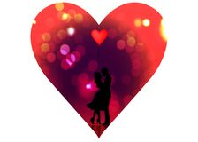 Romantic silhouette of loving couple. Valentines Day 14 February. Happy Lovers. Vector illustration isolated Stock Images
