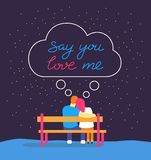 Romantic silhouette of loving couple sit on bench under night sky. Say you love me hand drawn typography lettering stock illustration