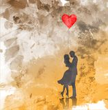 Romantic silhouette of loving couple. Valentines Day 14 February. Happy Lovers. Vector illustration, watercolor style Stock Image