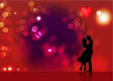 Romantic silhouette of loving couple. Valentines Day 14 February. Happy Lovers. Vector illustration isolated Royalty Free Stock Photo