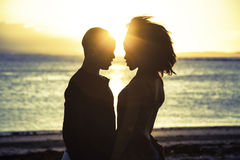 Romantic sillhouette couple love Royalty Free Stock Photography