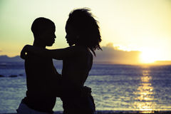 Romantic sillhouette couple love Stock Image