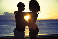 Romantic sillhouette couple love Stock Photos