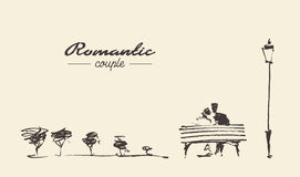 Romantic sketch loving couple bench drawn sketch Stock Photography
