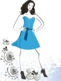 Romantic slim girl. In blue dress Royalty Free Stock Photo