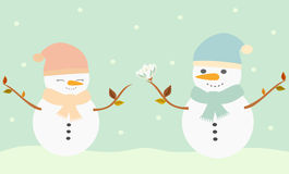 Romantic snowman giving flower to cute snowlady lovely illustration Royalty Free Stock Image