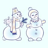 Romantic snowmen couple. Snowman courting his girl vector illustration