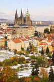 Romantic snowy colorful autumn Prague gothic Castle, Czech Republic Royalty Free Stock Photos