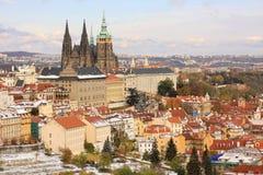 Romantic snowy colorful autumn Prague gothic Castle, Czech Republic Royalty Free Stock Images