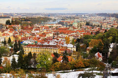Romantic snowy colorful autumn View on Prague City, Czech Republic Royalty Free Stock Photos