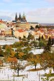Romantic snowy colorful Prague gothic Castle, Czech Republic Stock Photos