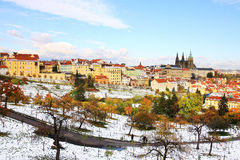 Romantic snowy colorful Prague with gothic Castle, Czech Republic Royalty Free Stock Images