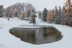 Romantic snowy lake. Romantic lake with snowy Christmas atmosphere in the Dolomites Royalty Free Stock Photography