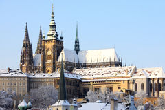 Romantic Snowy Prague gothic Castle, Czech Stock Images
