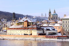 Romantic snowy Prague St. Nicholas' Cathedral Royalty Free Stock Images