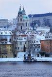 Romantic snowy Prague St. Nicholas' Cathedral, Czech Republic Royalty Free Stock Photography