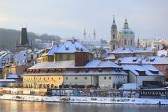 Romantic snowy Prague St. Nicholas' Cathedral, Czech Republic Royalty Free Stock Images