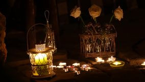 Romantic song from a variety of candles and roses.  stock video