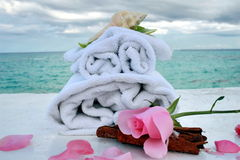 Romantic spa with ocean stock photography