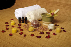Romantic spa setting Stock Photos
