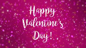 Romantic sparkly pink Happy Valentine`s Day greeting card. Animation with handwritten text and falling colorful glitter particles stock footage
