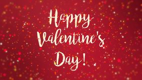 Romantic sparkly red Happy Valentine`s Day greeting card. Animation with handwritten text and falling colorful glitter particles stock footage