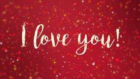 Sparkly red I love you Valentine card. Romantic sparkly red Valentines Day animated greeting card with I love you handwritten text stock video