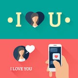 Romantic speech bubble heart and smartphone with love message in flat design. Vector illustration Royalty Free Stock Image