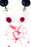 Romantic spilled wine Royalty Free Stock Photos