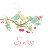 Romantic spring card. With birds in love Stock Photography