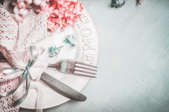 Free Romantic Spring Table Setting In Blue Pink Pastel Color, Top View Stock Photo - 82674670