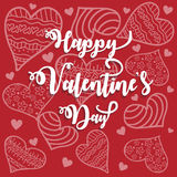 Romantic st valentine card with white heartshaped ornament over red background. Vector illustration Royalty Free Illustration