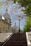 Romantic staircase for the Sacred Heart, Montmartre Royalty Free Stock Photos