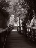 Romantic stairs. In Zagreb, Croatia. Black and white stock photography