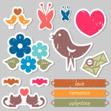 Romantic stickers for scrapbook Royalty Free Stock Photos